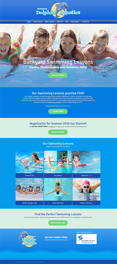 web-design-markham-dolphin-aquatics-home