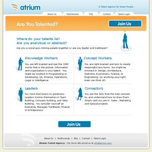 web design - Atrium Join Page