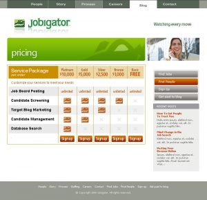 web design - Jobigator Pricing page