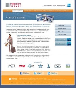 web design - Millenium Travel Corporate page