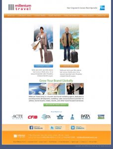 web design - Millenium Travel Home page