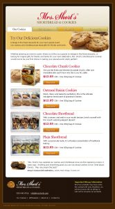 web design - Mrs Shorts Cookies page