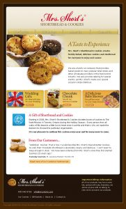 web design - Mrs Shorts Cookies Home page