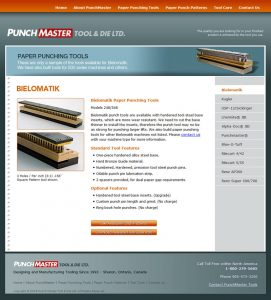 web design - PunchMaster Tools page