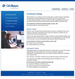 Web Design - QA Room Services page