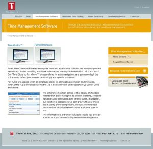 Web Design - Time Centre Software page