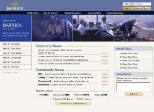 Web Design Barrick Intranet Home