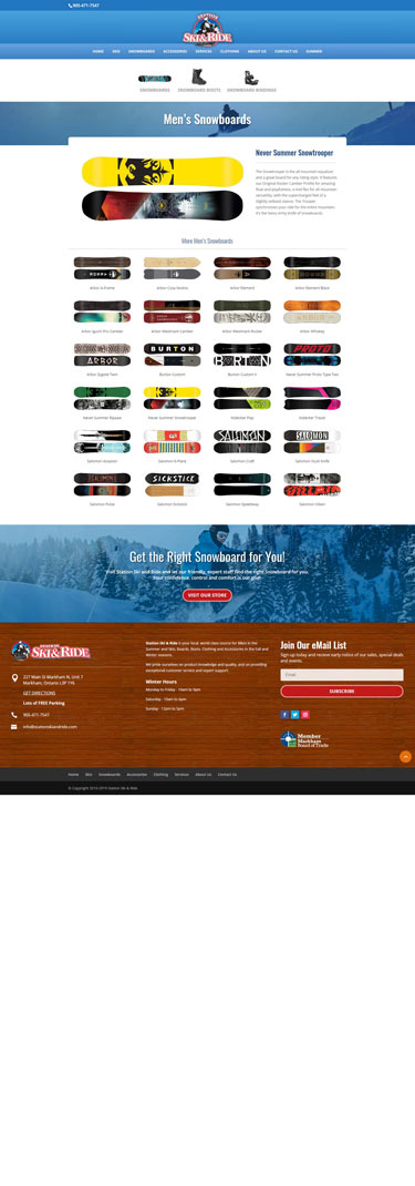 Web Design Station Ski and Ride Winter Snowboards